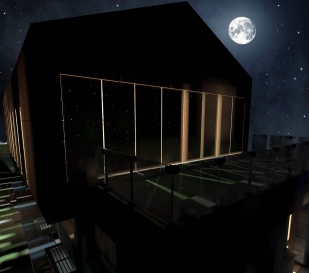 Night 3D Exterior vision - Closed panels - East facade