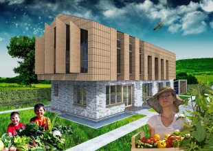3D exterior view_Photoshop_West facade_Vegetable garden