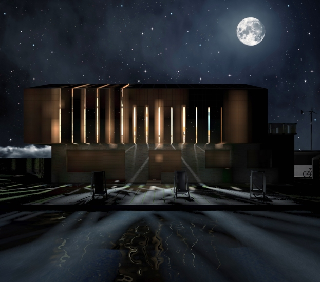 Night 3D Exterior vision - Closed panels - South facade