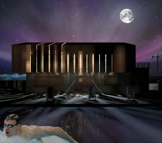 Night 3D Exterior vision - Closed panels - South facade_Swimming pool