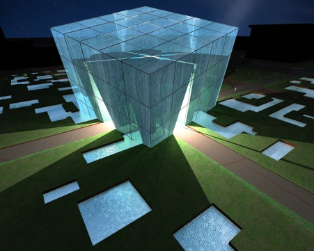 Cube filled with water - night