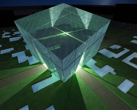Filling the cube facade with water