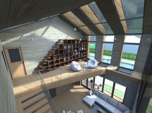 3D interior view - living room - library