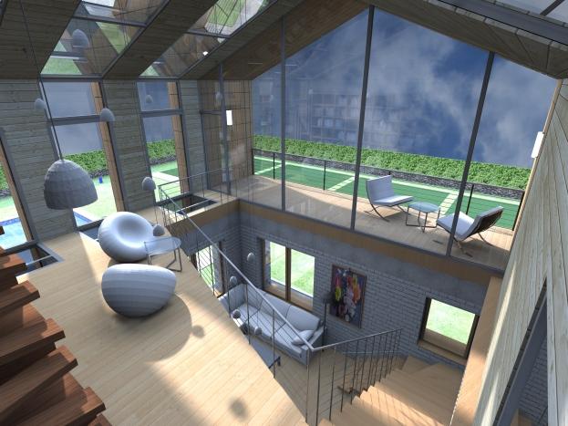 3D interior view - living room - terrace