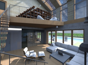 3D interior view - main living room