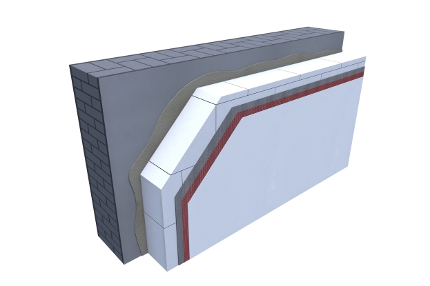 Certified 3D Passive house detail: Mineral foam - renovation wall