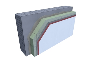 Certified 3D Passive house detail: Stone wool - renovation wall
