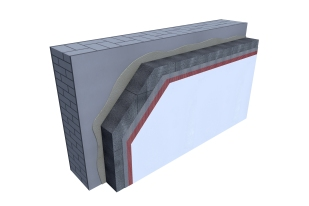 Certified 3D Passive house detail: EPS - renovation wall