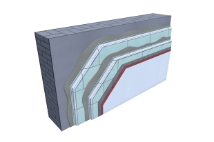 Certified 3D Passive house detail: Vacuum insulation - renovation wall
