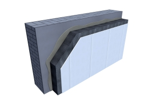Certified 3D Passive house detail: Rigitherm 032 - renovation wall