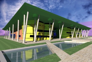 Public Library_3D Exterior - boulevard and square entrance