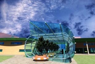 Public Library_3D Exterior - park entrance