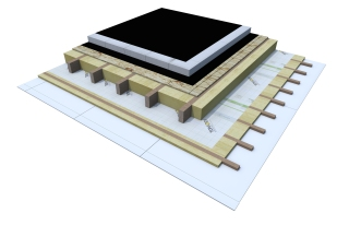 Certified 3D Passive house detail: OSB_12cm EPS - flat roof