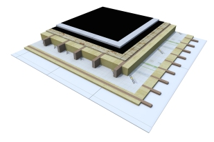 Certified 3D Passive house detail: OSB_5cm EPS - flat roof