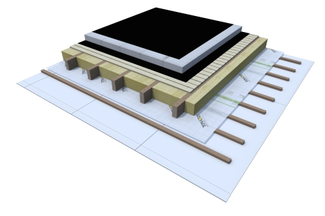 Certified 3D Passive house detail: Wood_12cm EPS - flat roof