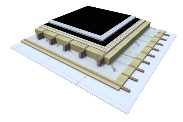 Certified 3D Passive house detail: Wood_5cm EPS - flat roof