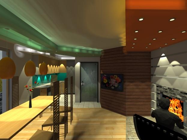 3D_Дневна_Поглед от дивана-лампи и горно осветление зад ГК