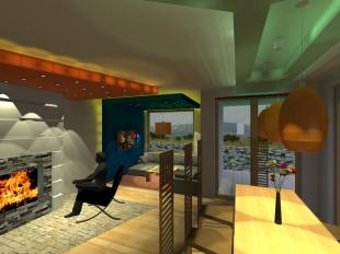 3D_Дневна–Поглед от трапезата към камина-лампи и горно осветление ГК