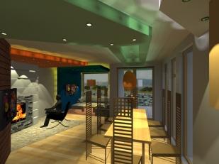 3D_Дневна–Поглед от трапезата към камина-лампи и горно осветление ГК (2)