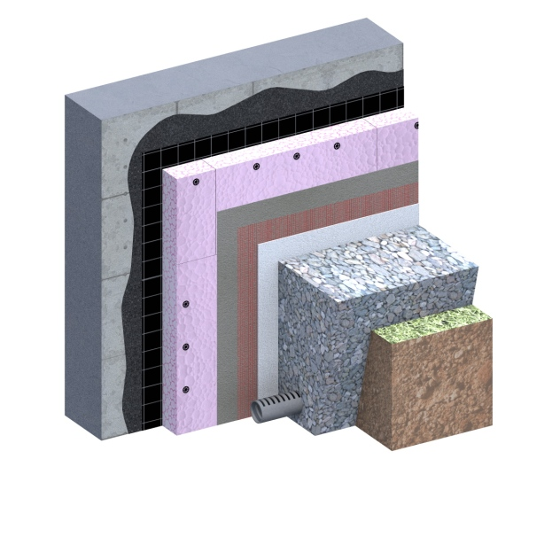 Exterior wall against Ground Passive House 3D Detail
