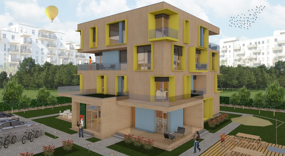 SG Holzbau_3D Mixed-use Building_Full view_with objects